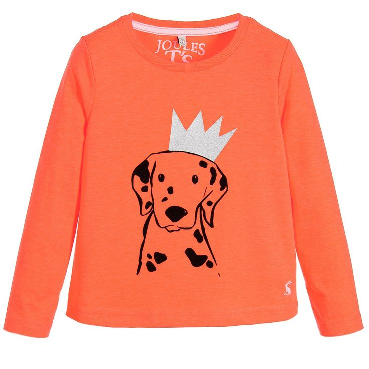 Joules Girls Orange 'Bessie' Dalmation Print T-Shirt at Childrensalon.com