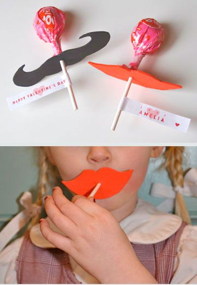 Lip and mustache lollipop Valentines.  Hilarious!  Once on the website, click on photo to find free printables for labels, lips, and mustaches.