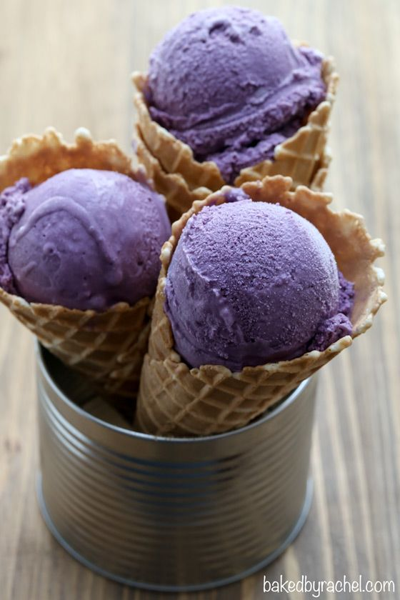 Creamy Homemade Blueberry Ice Cream from @bakedbyrachel