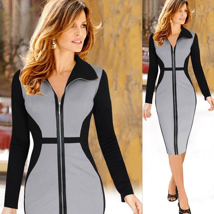 ==> [Free Shipping] Buy Best BusinessCasual Party Pencil dres Women Autumn Winter Fashion Long Sleeve Lapel zipper Wear to Work Business Office Sheath Dress Online with LOWEST Price | 32650732345