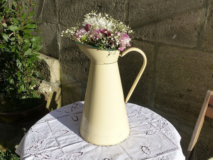 Large French Vintage Cream Enamel Pitcher Large Enamel Jug - French Country Kitchen French Enamelware - Rustic Vase - French Country Decor by LeTrucVintage on Etsy