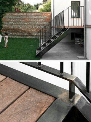 Steel Frame detail. OUTDOOR STAIRCASE. INFILL TIMBER DECK. BACK SIMPLE STAIRCASE. WELEDED STEEL STAIRS. Industrial aesthetic.