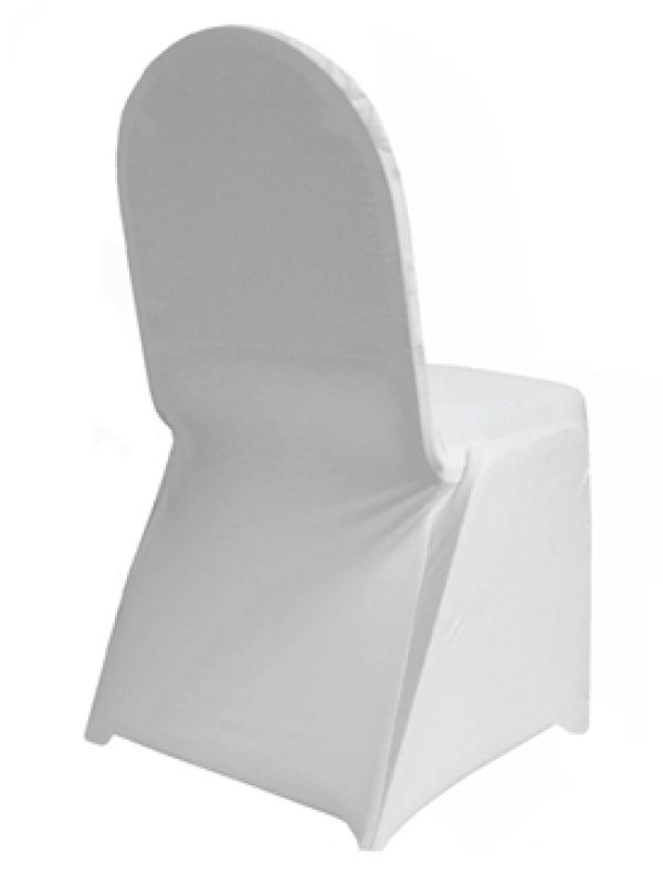 There will be white spandex chair covers on the chairs that will be at the tables with a black tablecloth
