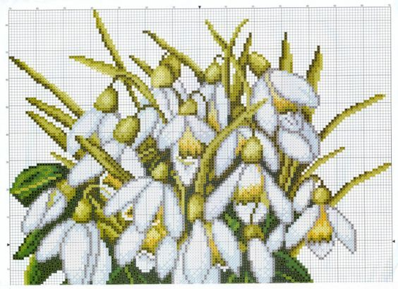 Cross stitch - flowers: Snowdrop (free pattern - chart - part 1):