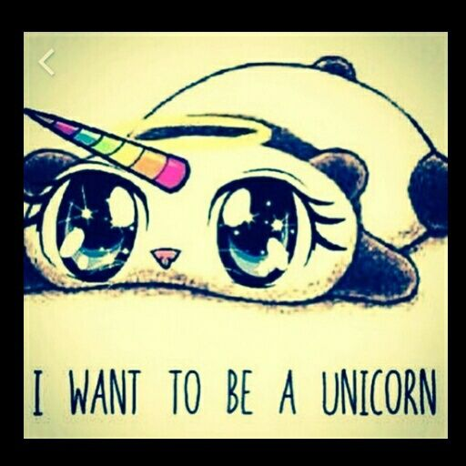 "Cartoon ""I want to be a Unicorn"" picture"