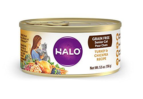 """Halo Holistic Wet Cat Food for Senior Cats, Grain Free Turkey and Chickpeas 5.5 OZ of Senior Cat Food, 12 Cans:   Halo uses WHOLE meat, never any """"meat meal"""" of ANY kind in our natural cat food. Our grain free senior cat food is made with reduced calories and fat to match the decreased activity and metabolism of senior cats. We also have cat food options for special diets, including kitten food, indoor cat food, and sensitive stomach cat food. At Halo, WHOLE Makes a Whole Lot of Differ..."""
