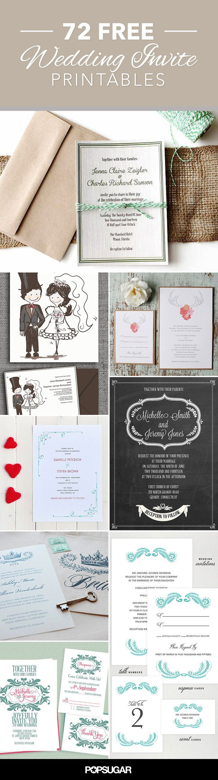 Wow — I bet you thought you had to spend a boatload on wedding invites. Well, think again. I've rounded up some of the best wedding-invitation printables on the web, ranging from the artsy to the sweet, that might just change your mind on purchasing invites.