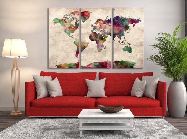 Mejores 26 imgenes de watercolor world map canvas en pinterest triptych wall art watercolor world map canvas print extra large map modern wall art gumiabroncs Image collections