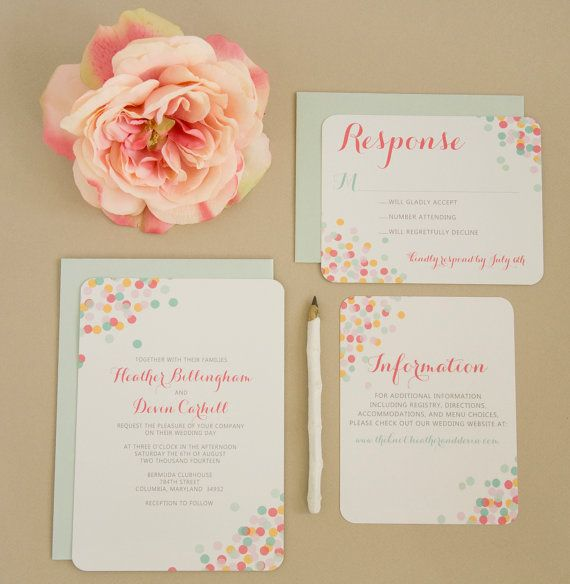 Confetti wedding invitation set - bright and cheery! Perfect for a spring or summer wedding! :)