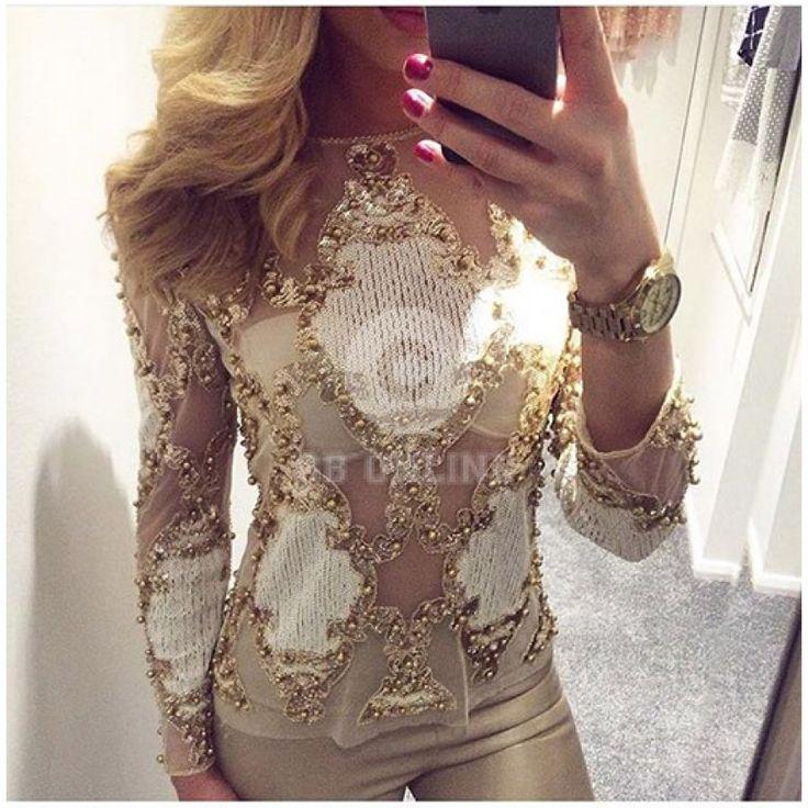 Diana Gold Sequin Top