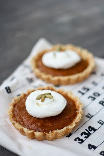 Pumpkin Tartlets with Mascarpone- just replace the crust with a gluten free version.