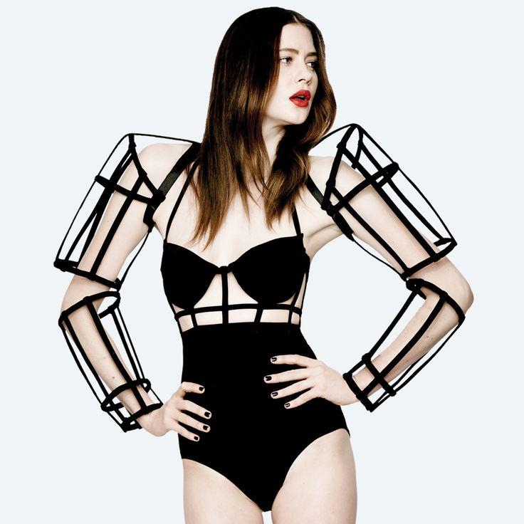 Conceptual Fashion - android-inspired arm cage; futuristic fashion armour; sculptural fashion // Chromat