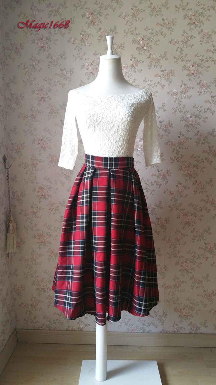 2016 Autumn Plaid Skirt Pleated Midi Skirt with Pocket.Vintage-inspire Checked Skirt.High Waist Tea Length Skirt.Women Plaid Skirt(WS11) by Dressromantic on Etsy https://www.etsy.com/listing/244658677/2016-autumn-plaid-skirt-pleated-midi