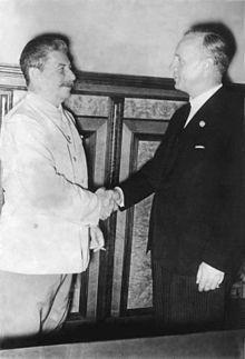 Ribbentrop and Stalin at the signing of the Pact -Joachim von Ribbentrop(1893-1946) was Foreign Minister of Nazi Germany from 1938 until 1945. A successful businessman, he was appointed German Ambassador to London in 1936.