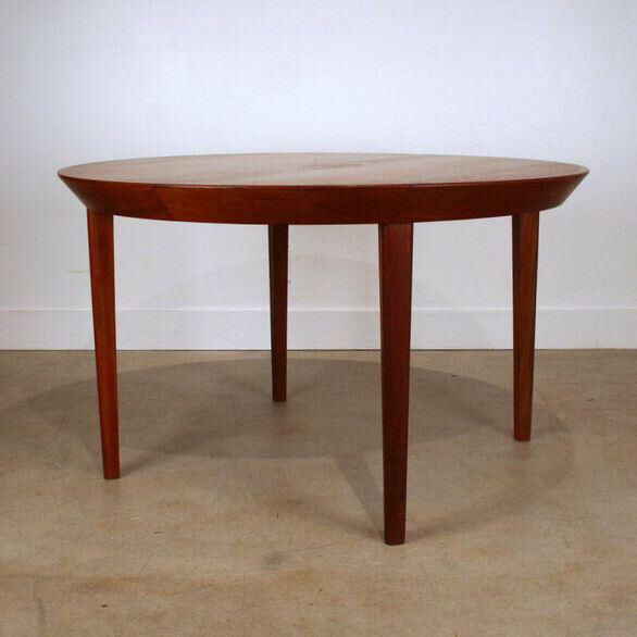 Vintage Kai Kristiansen Danish Teak Round Dining Table On Chairish Com Round Dining Table Dining Table Teak Dining Table