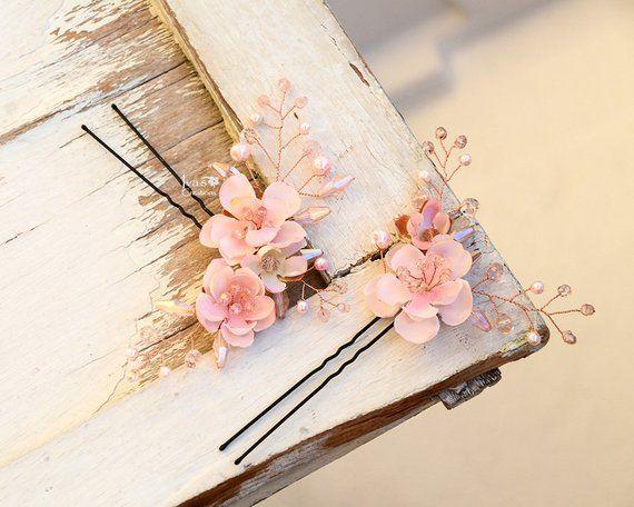 Blossom Hair Pins Pink Blossom Flower Cherry Blossom Hair Pins Bride Hair Accessories Flower Hair Clips Apple Floral Accessories Sakura Floral Accessories Crystal Bead Jewelry Hair Accessories