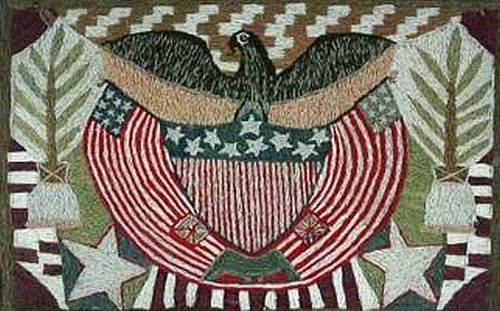 Sailor's Wooly . A Fine Woolwork Picture of an American Eagle and Flag, Circa 1860.