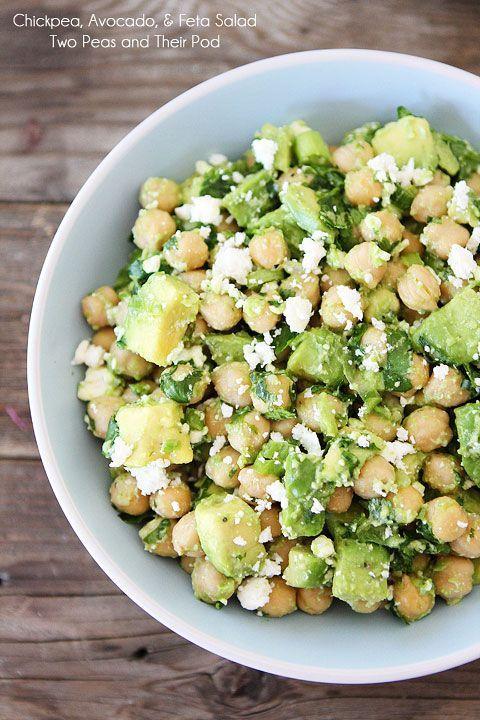 Easy Chickpea, Avocado, & Feta Salad Recipe on twopeasandtheirpod.com Make this healthy salad in 5 minutes! #salad #vegetarian
