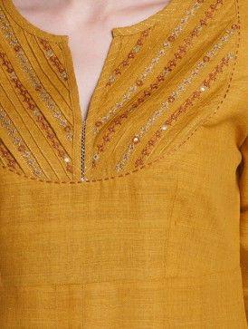 Mustard Zari & Thread Embroidered Yoke Matka Silk Kurta