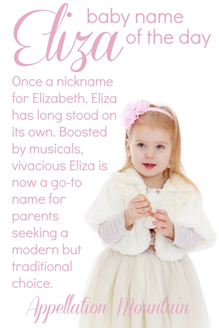 Looking for a girl's name both modern and vintage? Nickname-proof and nickname-rich? Eliza is all that and more, with ties to musical theater from My Fair Lady to Hamilton.