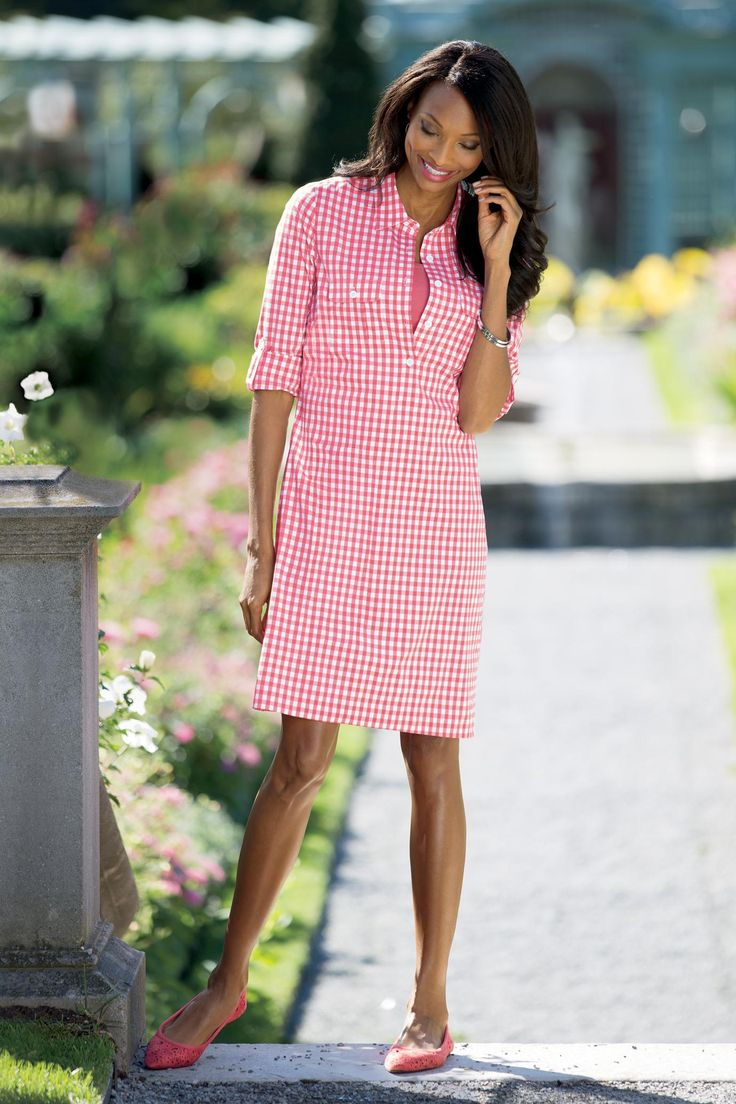 Gingham Shirtdress - Stretch Cotton Dress | Chadwicks of Boston
