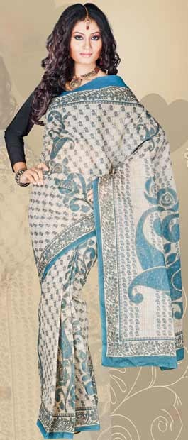 SPN340:Printed Off White and Light Turquoise Blue Cotton Saree With Blouse  http://www.utsavfashion.com/store/sarees-large.aspx?icode=SPN340