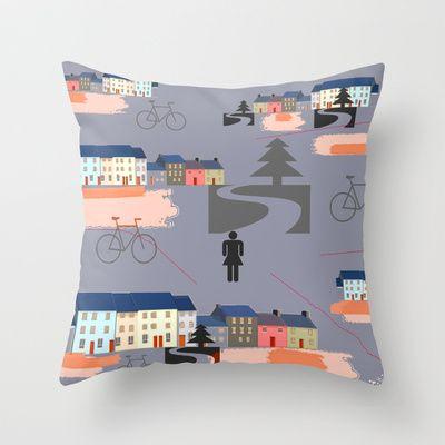 Suburbia - art on pillows on Society6   #pillows #Society6  #illustrations #suburbia