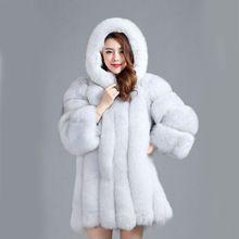 CP Marka Uzun Kürk Kış Kadın Lüks Sıcak Faux Fox Kürk Coat Hood Ile Kadın Faux Kürk Ceket Artı Boyutu Sahte Kürk Mantolar(China (Mainland))