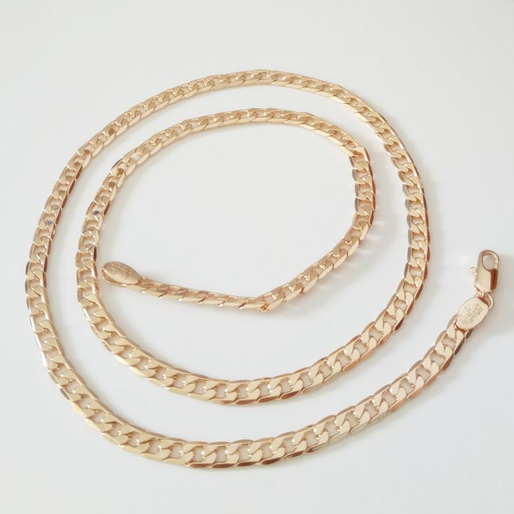 1 Piece  Men Jewelry  New Fashion 585 Gold Jewelry Men Necklace Copper 55CM Long Gold  Women Men Necklace Factory Direct