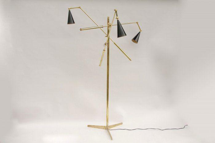 Piantana italian gilt brass modern lamp from 1980 - Jean Luc Ferrand Antiquités - Vintage light