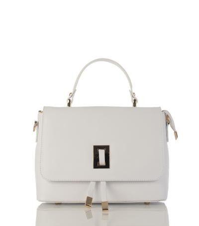 White color Italian Saffiano Leather HandBag