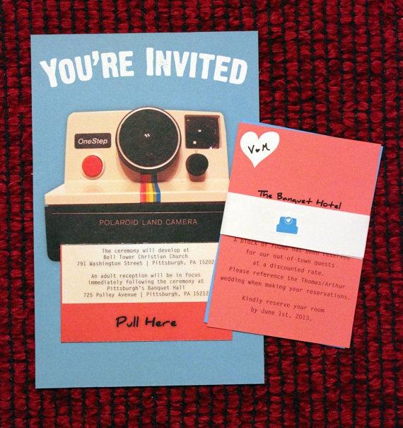 Vintage Inspired Polaroid Wedding Invitation  by thriftyouweremine...soooo cute!!