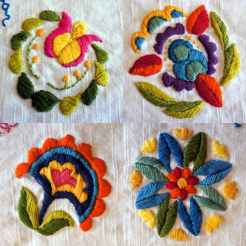 signature tablecloth project, floral details - DO POLISH POTTERY DESIGNS!!!