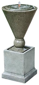 Las Ramblas Garden Water Fountain, Alpine Stone - traditional - Outdoor Fountains - Soothing Company