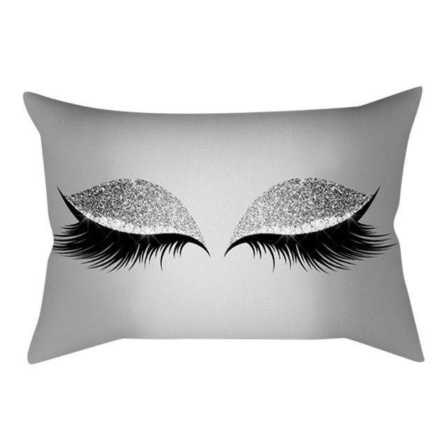 New Eyelash Out Soft Velvet Cushion Cover 30x50cm Marble Pillow Cases B8B9