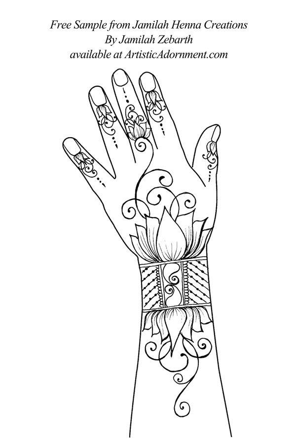 free indo-western lotus buddhist henna design