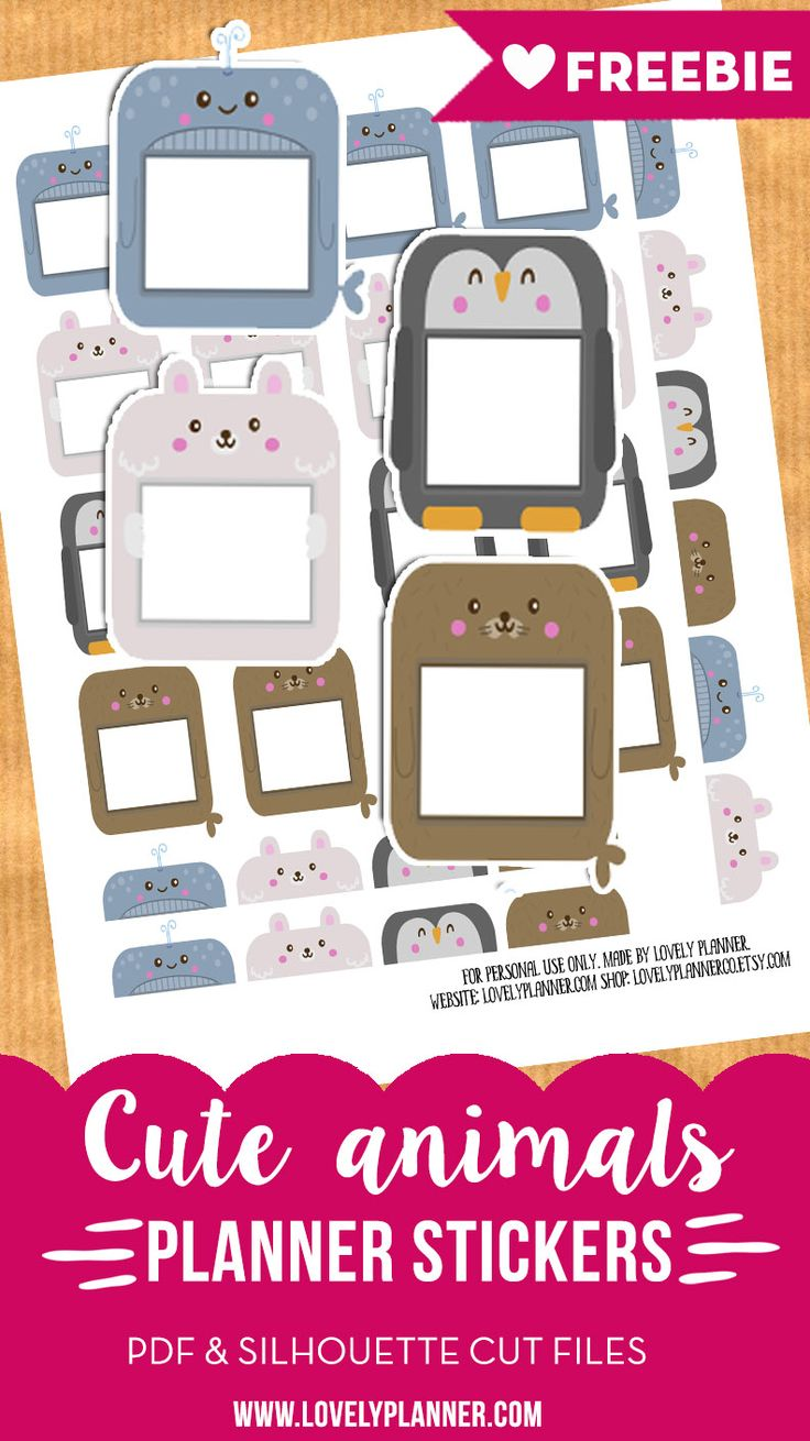 Free Printable Animal Planner Stickers {PDF and Silhouette Files} More planner freebies on lovelyplanner.com