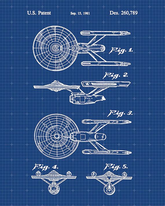 USS Enterprise Constitution Class Starship Star Trek Blueprint Patent Print - Patent Art - Star Trek Art - Patent Print