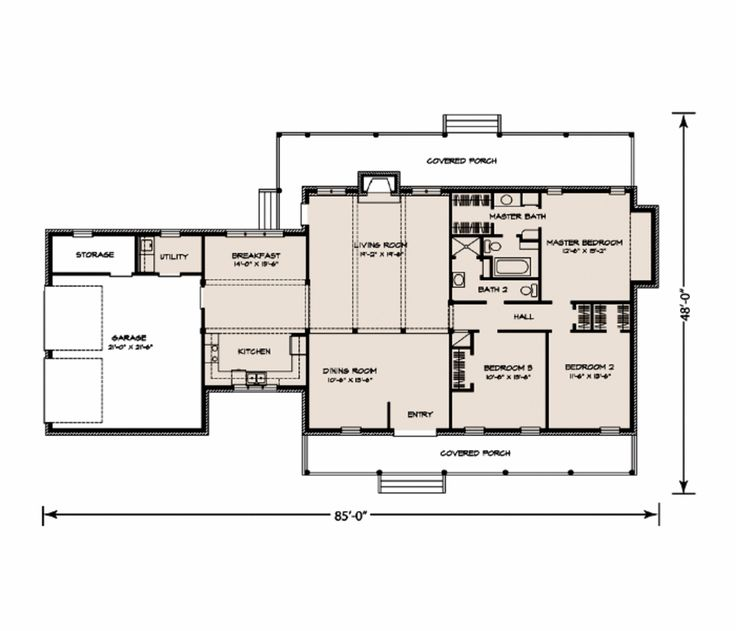 Ranch style house plan 3 beds 2 baths 1917 sq ft plan 250 square foot apartment floor plan