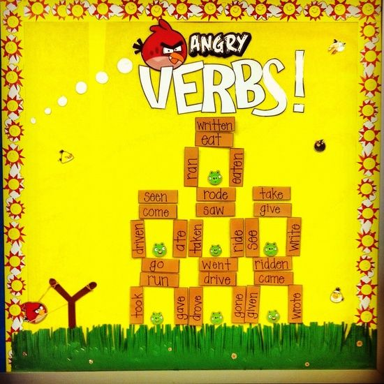 Angry Verbs Bulletin Board Idea