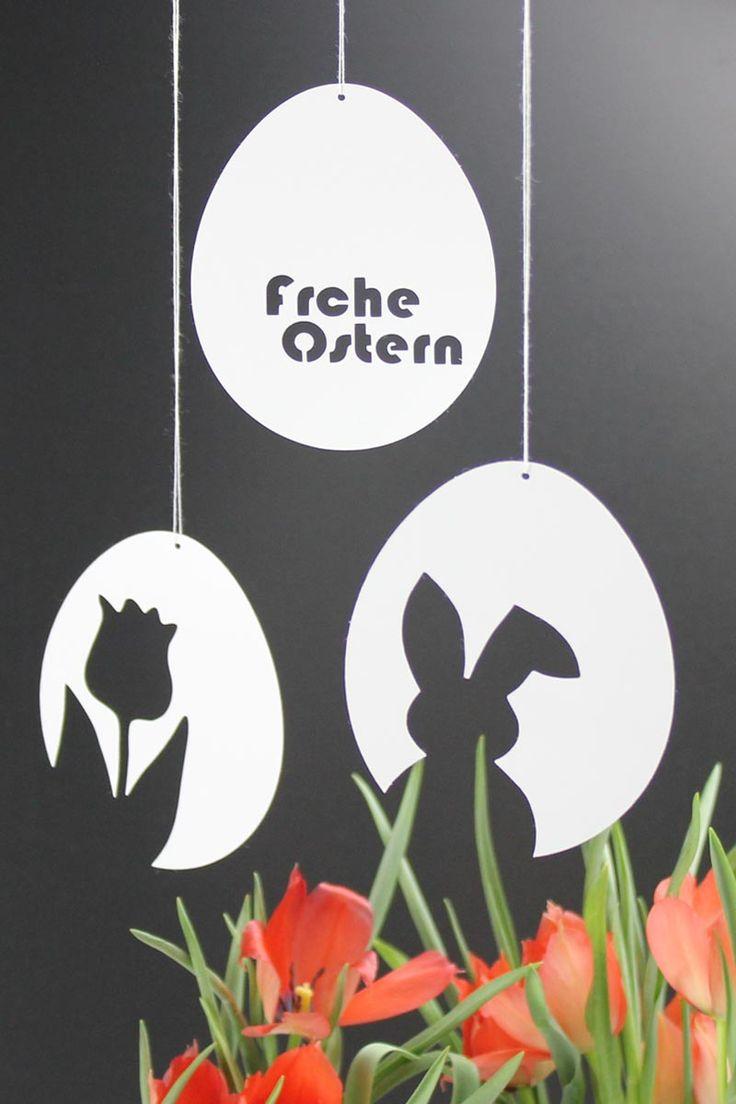 """3 Vorlagen für schnelle & schlichte Osterdeko aus Papier: Osterhase & Tulpe & """"Frohe Ostern"""
