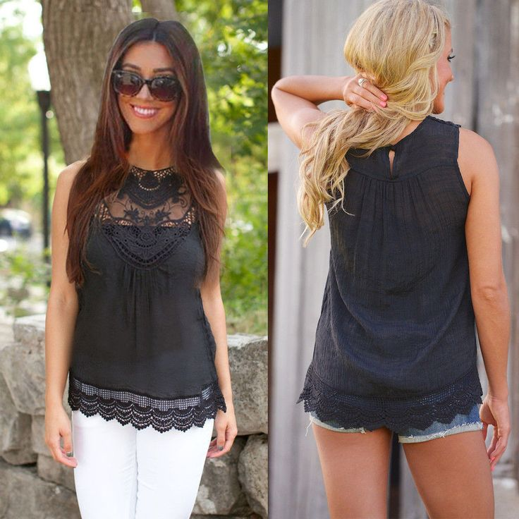 Sexy Women Fashion Loose-Fitting Summer Round Neck Top Sleeveless Casual Lace Blouse
