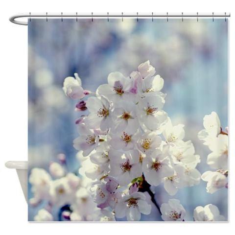 Cherry blossom shower curtain spring bathroom by OurArtCloset