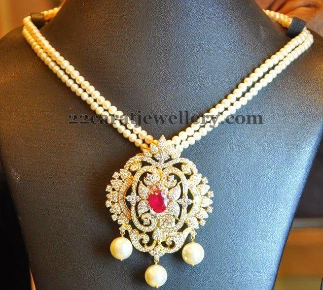 Jewellery Designs: Floral Diamond Locket with Pearls Strings