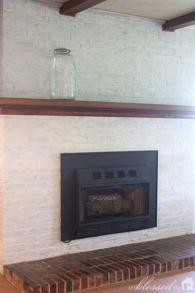 Transform A Brick Fireplace With A White Wash {Before & After} :: Hometalk