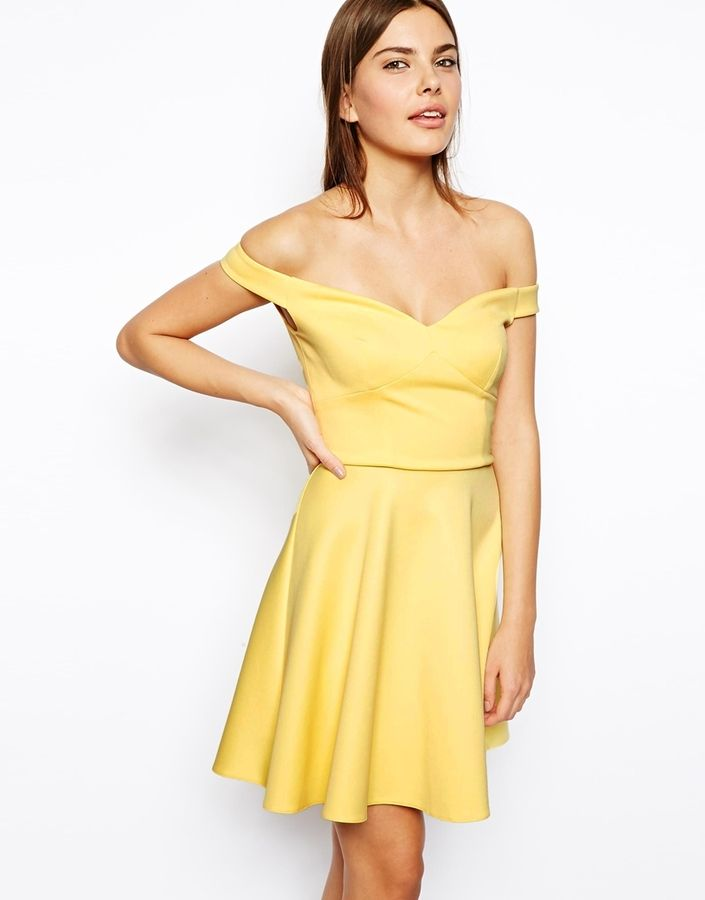 $65, Yellow Skater Dress: Asos Scuba Bardot Skater Dress. Sold by Asos. Click for more info: https://lookastic.com/women/shop_items/53730/redirect