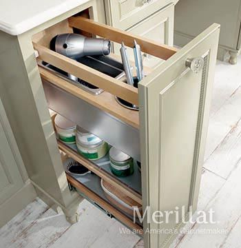 Base Vanity Pantry Pull Out   Masterpiece® Accessories   Merillat®  Cabinetry. A Lot Of Storage In A Small Space. This Solution Is Perfect For  Hair Dryers, ...