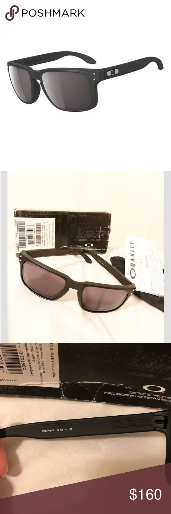 Oakley Holbrook Item #: OO9102-01 Features of Oakley Holbrook Stress-resistant O-Matter frame Plutonite polycarbonate lenses Three-Point Fit 6.0 base lens curvature for optimal peripheral vision Lenses filter out 100% of UVA, UVB, UVC and harmful blue light up to 400 nm Metal bolt accents in front frame Metal icon accents Optical precision and impact resistance meet or exceed ANSI Z87.1 optical and basic impact standards comes with box, dust bag 100% authentic Oakley Accessories Glasses