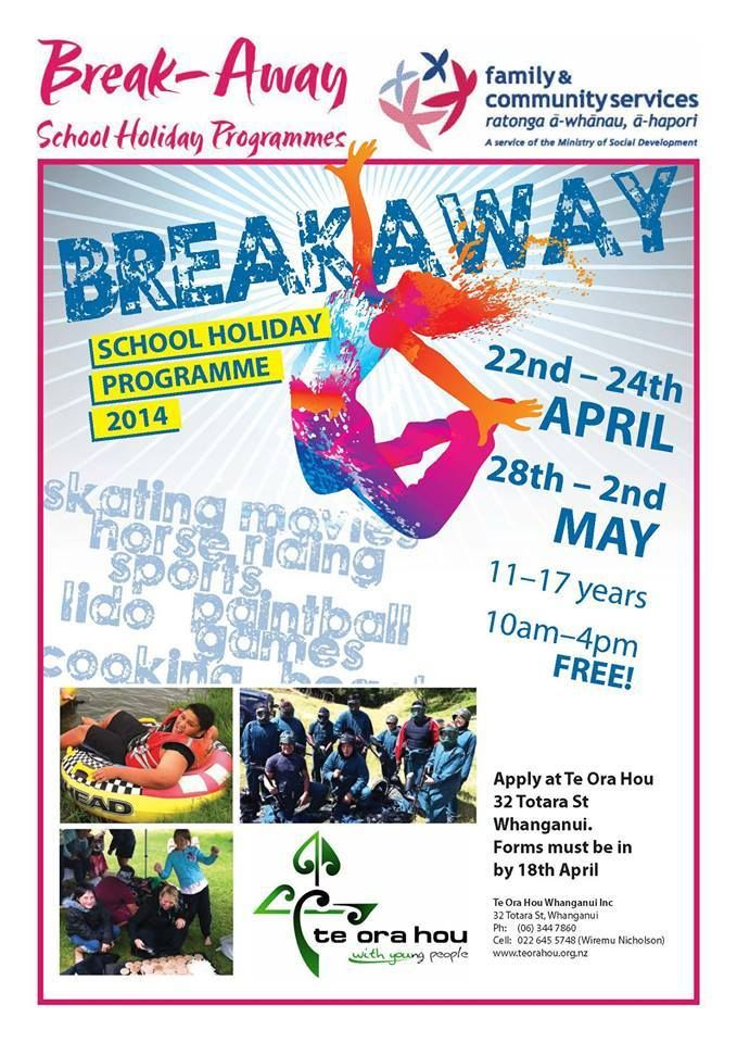 """Te Ora Hou """"Break Away""""  Date: 28th of May Time: 10am Location: Te Ora Hou @ 32 Totara Street, Whanganui.  Te Ora Hou have a FREE school holiday programme """"Break Away"""" for youths aged between 11 years and 17 years old. This programme includes skating, movies, horse riding, sports, paintball, cooking and much much more."""