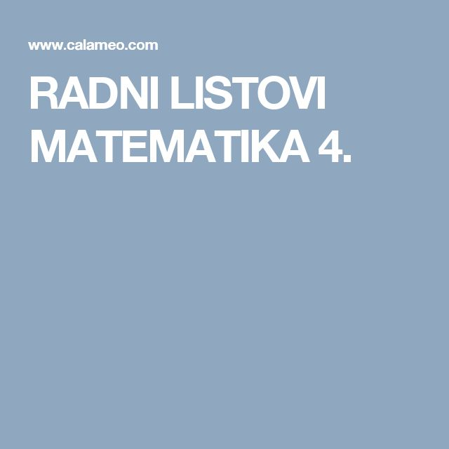 RADNI LISTOVI MATEMATIKA 4.